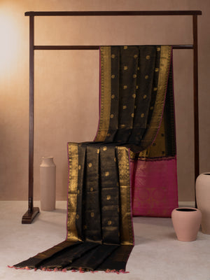 Chakra And Annam Motif Woven In Black Pure Kanchipuram Silk Saree with Gold Zari