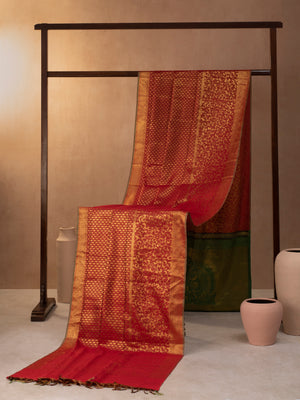 Labyrinth Peacock Woven In Bridal Red Pure Kanchipuram Silk Saree with Gold Zari