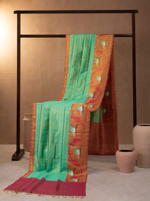 Horizontal Kanchi Strips Woven In Sapphire Isles Green Kanchipuram Silk Saree with Gold Zari