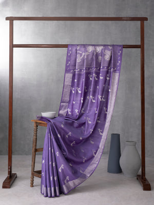 Classical Art Woven In Muted Lilac Purple Pure Kanchipuram Silk Saree with Silver Zari