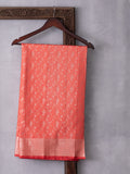 Classical Art Woven In Salmon Pink Pure Kanchipuram Silk Saree with Silver Zari
