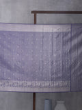 Kanchi Motif Woven In Electric Purple Pure Kanchipuram Silk Saree with Silver Zari