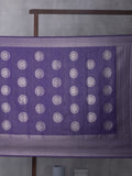 Kanchi Pattern Woven In Muted Lilac Purple Pure Kanchipuram Silk Saree with Silver Zari