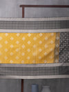 Windowpane Checks Woven In Wild-Fire Yellow Pure Kanchipuram Silk Saree with Silver Zari