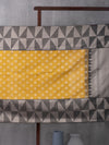 Diamond Pattern Woven In Wild-Fire Yellow Pure Kanchipuram Silk Saree with Silver Zari