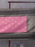 Floral Creeper Woven In Taffy Pink Pure Kanchipuram Silk Saree with Silver Zari