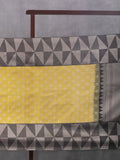 Off Set Diamond Pattern Woven In Citrus Yellow Pure Kanchipuram Silk Saree with Silver Zari
