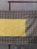 Windowpane Checks Woven In Citrus Yellow Pure Kanchipuram Silk Saree with Silver Zari