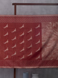 Abstract Art Woven In Burgundy Pure Kanchipuram Silk Saree with Silver Zari