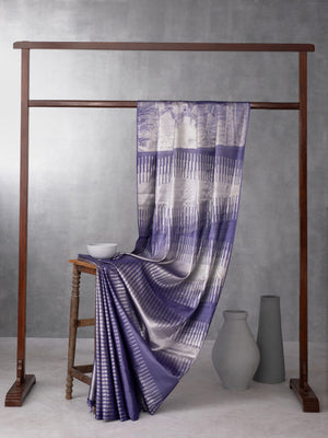 Digital Photo Woven in Electric Purple Pure Kanchipuram Silk Saree with Silver Zari
