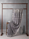 Classical Art Woven In Metallic Grey Pure Kanchipuram Silk Saree with Silver Zari