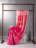Classical Art Woven In Dual Pink Pure Kanchipuram Silk Saree with Silver Zari
