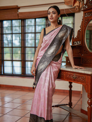 Galaxy of Stars woven with Silver Zari on a Flamingo Pink Kanchi Weave