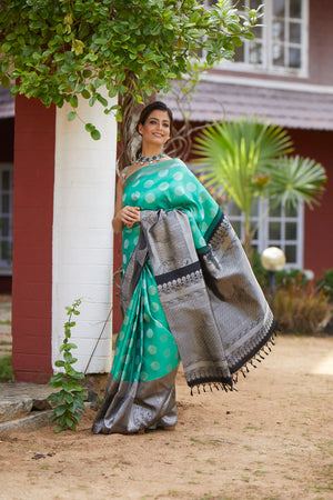Sea Green Paisley Silk Saree