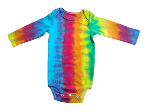 Baby Tie-Dye Long Sleeve One Piece Bodysuit - Rainbow Stripe