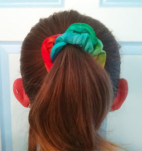 Tie Dye Hair Scrunchies - Hand Dyed Rainbow Pony Tail Holder