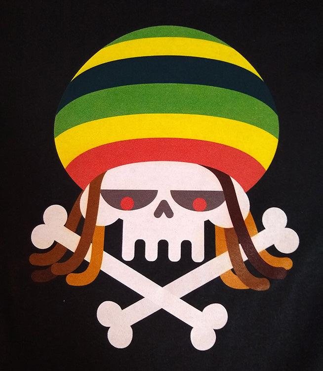 Reggae Rasta Skull Dreads and Crossbones Graphic Printed T-Shirt