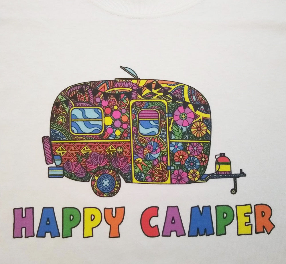 Colorful Happy Camper Graphic Printed Camping T-Shirt