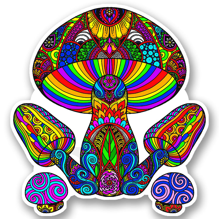 Trippy Crazy Colorful Mushroom Vinyl Sticker Decal - Fungus Shrooms Psychedelic
