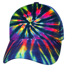 Load image into Gallery viewer, Rainbow Spiral Burst Tie Dye Baseball Trucker Cap Hat