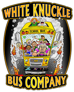 Funny School Bus Vinyl Sticker Decal - White Knuckle Bus Company