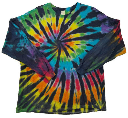 Adult Unisex Long Sleeve Tie-Dye T-Shirt 100% Cotton - Black Rainbow Spiral