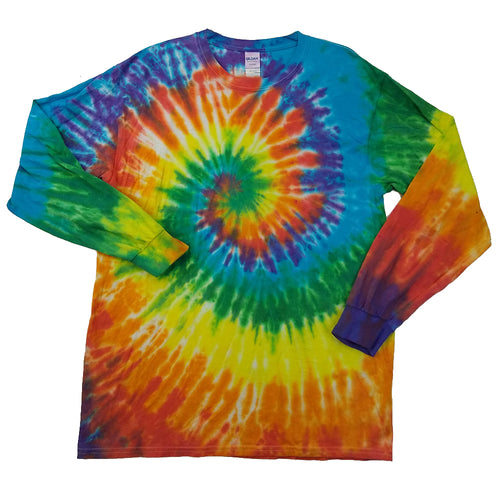 Adult Unisex Long Sleeve Tie-Dye T-Shirt 100% Cotton - Rainbow Spiral