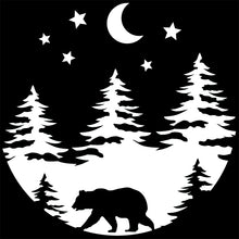 Load image into Gallery viewer, Bear Forest Trees and Moon Vinyl Decal Sticker for Cars, Windows, Signs, Etc.