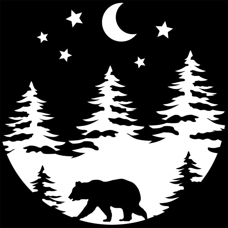Bear Forest Trees and Moon Vinyl Decal Sticker for Cars, Windows, Signs, Etc.