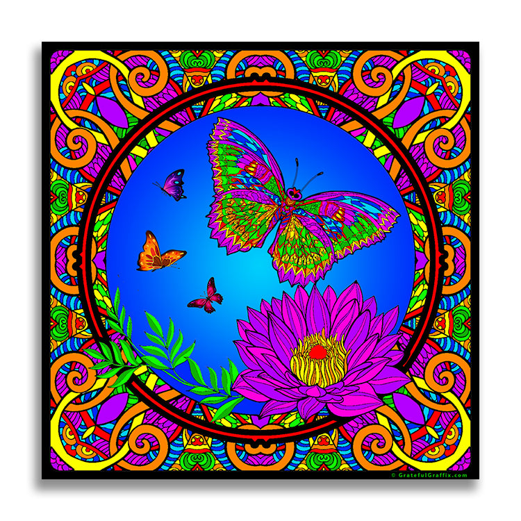 Trippy Crazy Colorful Butterflies Vinyl Sticker Decal - FREE Shipping - Psychedelic Butterfly