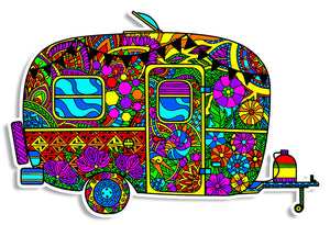 Trippy Crazy Colorful Camper Vinyl Sticker Decal - FREE Shipping - Psychedelic Camping Trailer