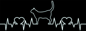 Cat Love Heartbeat Vinyl Decal Sticker for Cars, Windows, Signs, Etc.