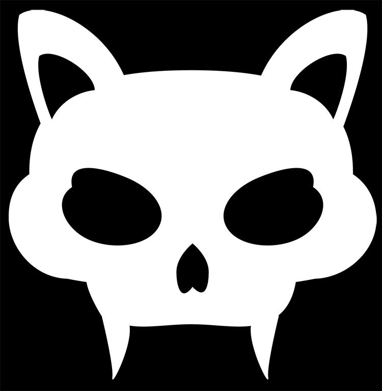Cat Head with Fangs Vinyl Decal Sticker for Cars, Windows, Signs, Etc.