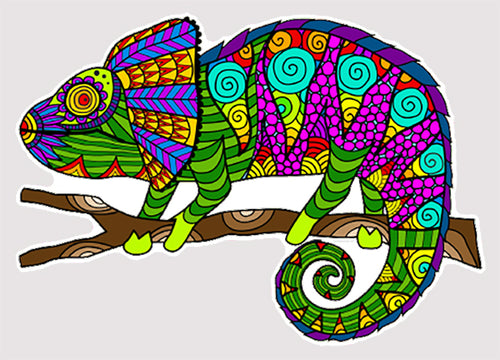 Trippy Crazy Colorful Chameleon Lizard Vinyl Sticker Decal - FREE Shipping
