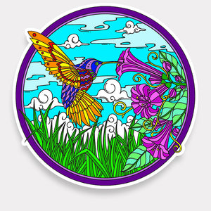 Trippy Crazy Colorful Hummingbird Vinyl Sticker Decal - FREE Shipping