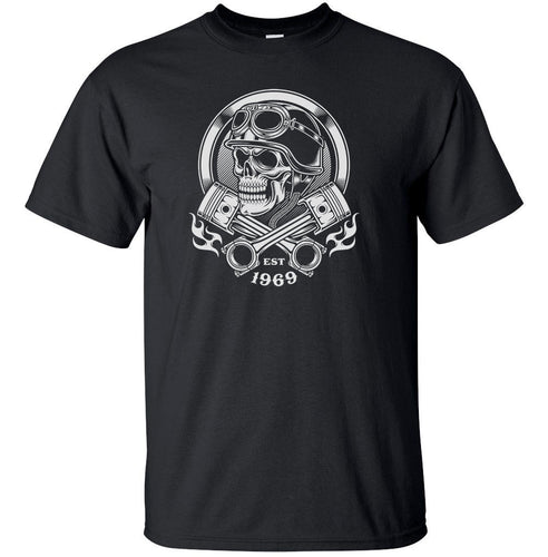 Adult Unisex Biker Skull 100% Cotton Printed T-shirt Motorcycle Pistons