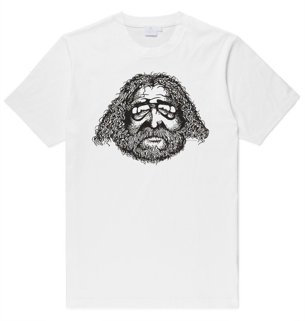 Adult Unisex Jerry Garcia Face Drawing Printed T-shirt 100% Cotton Grateful Dead