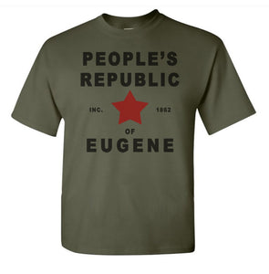 Adult Unisex People's Republic of Eugene Printed T-shirt 100% Cotton - Oregon