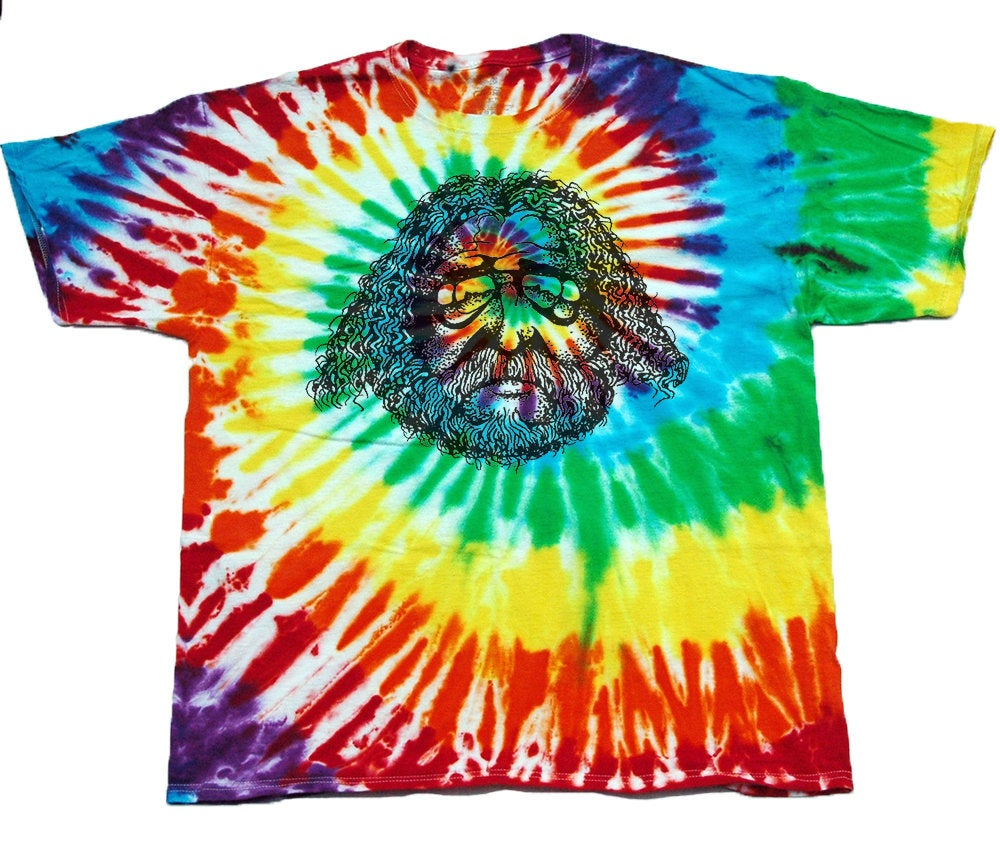 Adult Unisex Jerry Garcia Face Drawing Printed Tie-Dye T-shirt 100% Cotton Grateful Dead