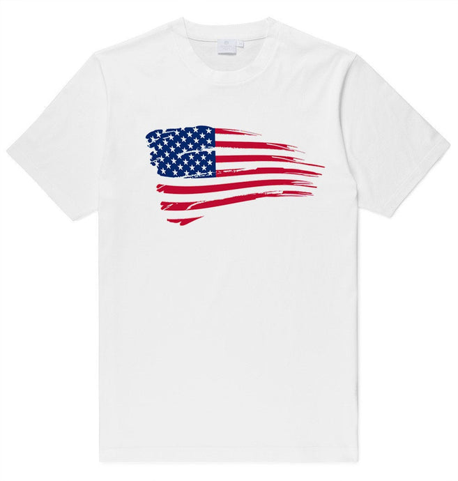 Adult Unisex American Flag Swoosh Printed T-shirt 100% Cotton Patriotic
