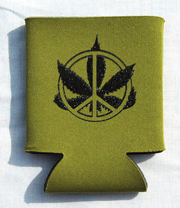 Printed Can Cozie Cooler Insulator - Marijuana Pot Leaf and Peace Sign
