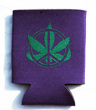 Load image into Gallery viewer, Printed Can Cozie Cooler Insulator - Marijuana Pot Leaf and Peace Sign