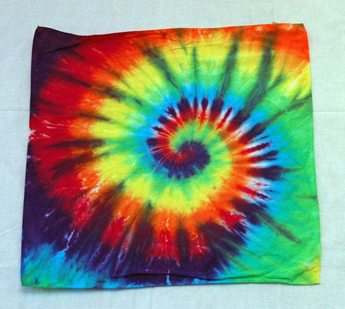 New Rainbow Spiral Tie Dye Bandanna - 22 inch 100% Cotton - ET087