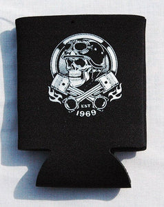 Printed Can Cozie Cooler Insulator - Motorcycle Biker Skull