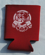 Load image into Gallery viewer, Printed Can Cozie Cooler Insulator - Motorcycle Biker Skull