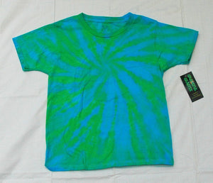 New Youth Tie-Dye T-Shirt - 100% Cotton Green Blue Starburst