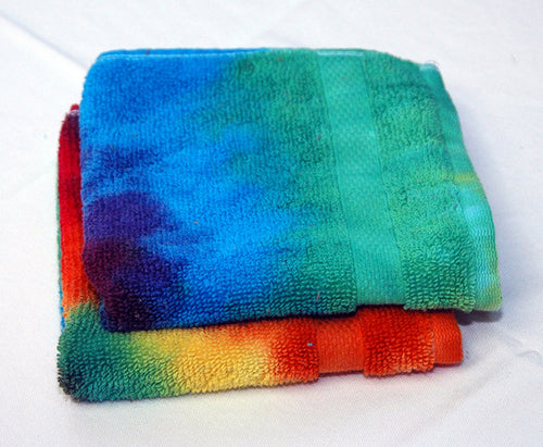 Set of 2 Large Tie-Dye Wash Cloths - Rainbow Spiral 100% Cotton -  Hand Dyed - Nice Hotel Quality