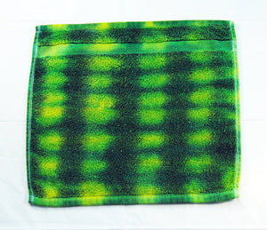 Set of 2 Large Tie-Dye Wash Cloths - Green Yellow Stripe 100% Cotton -  Hand Dyed - Hotel Quality