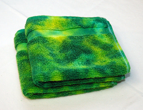 Set of 2 Large Tie-Dye Wash Cloths - Green Yellow Marble 100% Cotton -  Hand Dyed - Hotel Quality