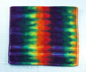 Set of 2 Tie-Dye Hand Towels - Rainbow Stripe 100% Cotton -  Hand Dyed - Nice Hotel Quality